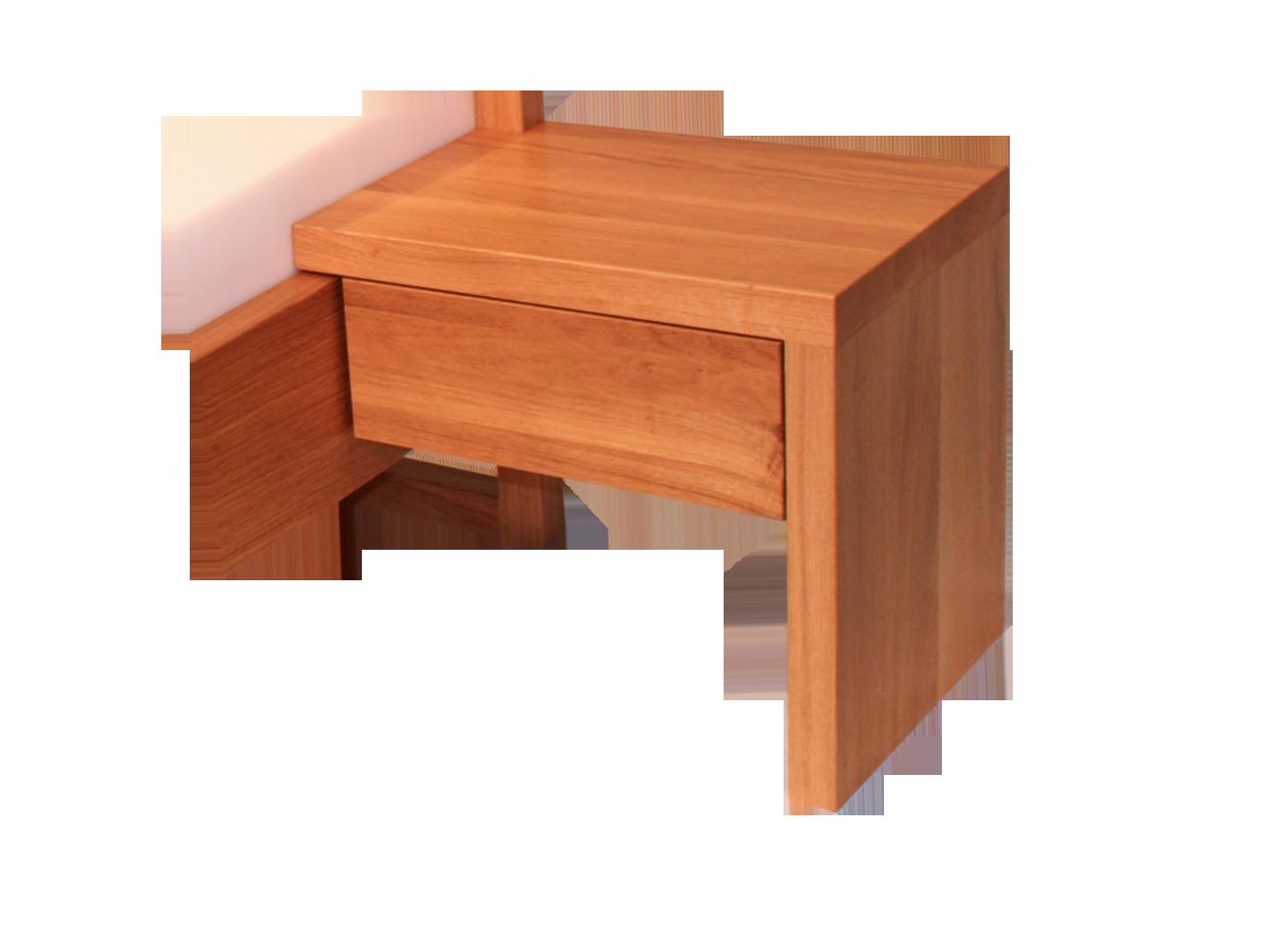 Masivní rám nočního stolku k posteli, zásuvka s tlumeným dovíráním a detailně provedený výřez pro čelo postele.
