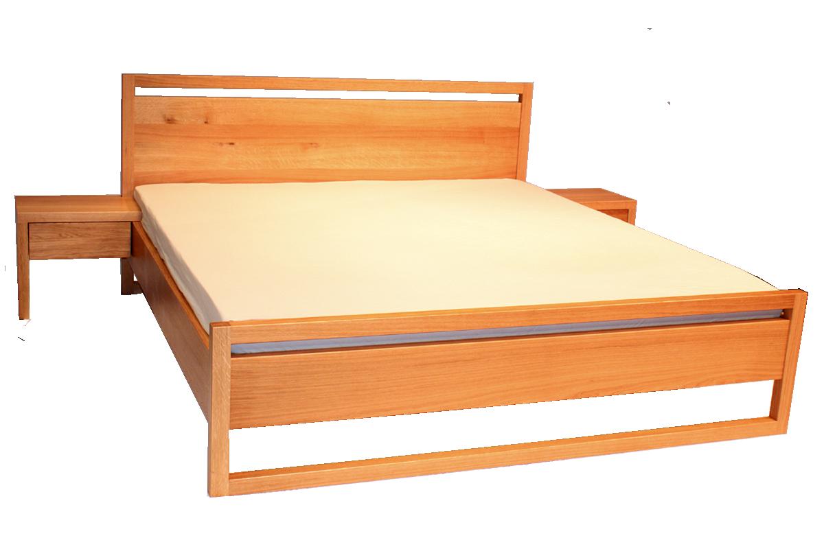 Poctivá, masivní postel s odlehčeným rámem z dubových hranolů. Patentované spojovací kování Zipbolt zaručuje stabilitu. Šířka matrace 180 cm.