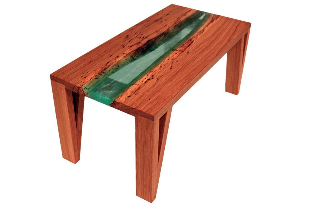 konferencni stolek dub s tyrkysovou epoxidovou pryskyrici
